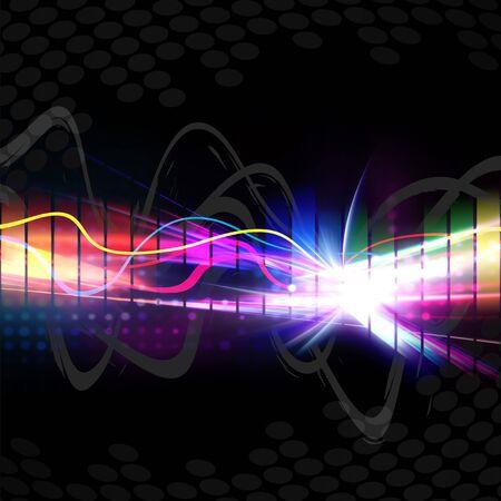 Een regenboog gekleurde grafische equalizer golf vorm geïsoleerd op een zwarte achtergrond.