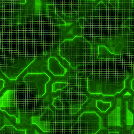 Green computer circuit board circuitry texture that tiles seamlessly as a pattern in any direction.