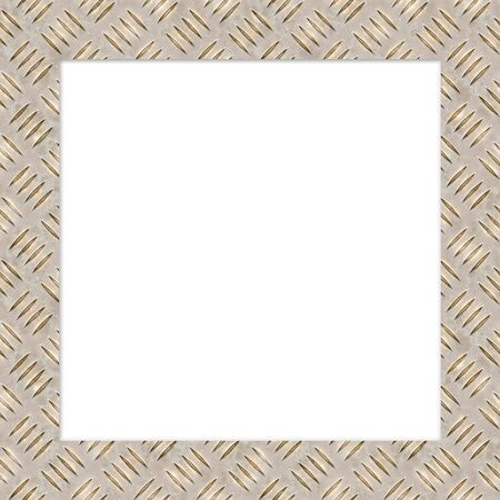ironworks: Metal diamond plate border for easily cutting out the center area.