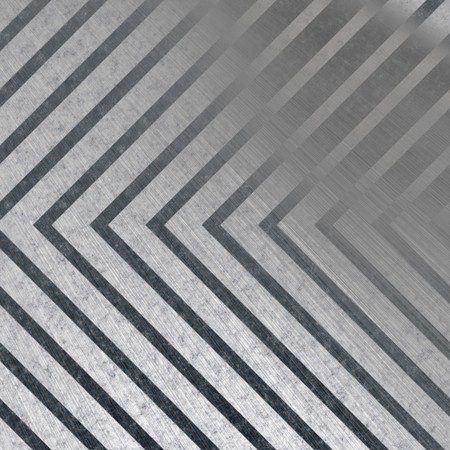 Hazard stripe brushed metal texture with reflective highlights. photo