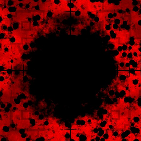 Red cells frame or border with sniper rifle crosshairs with a black center area.     photo