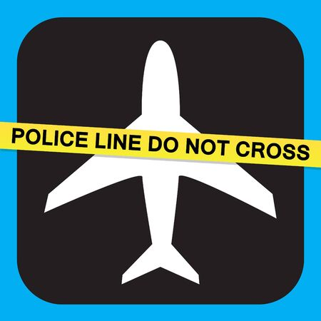 criminal activity: Airport airline security screening illustration relating to terrorist or criminal activity with police tape the says POLICE LINE DO NOT CROSS.