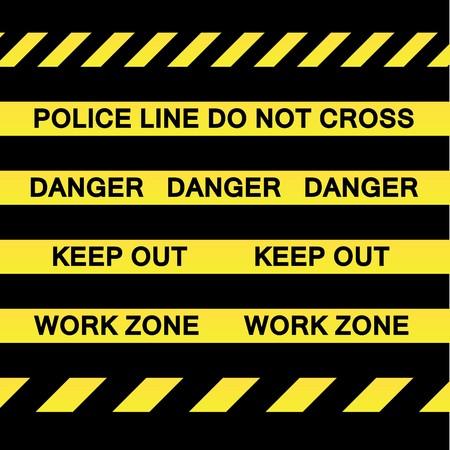 Una variedad de cintas amarillas de precaución para los conceptos de investigación de escena de construcción y la delincuencia.