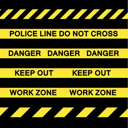 A variety of yellow caution tapes for construction and crime scene investigation concepts.