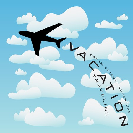 taking off: Ilustraci�n de vacaciones con una silueta de un avi�n comercial que despegaba en las nubes.