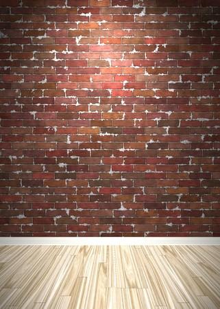 レンガの壁の木製寄せ木細工の床と内部の背景。