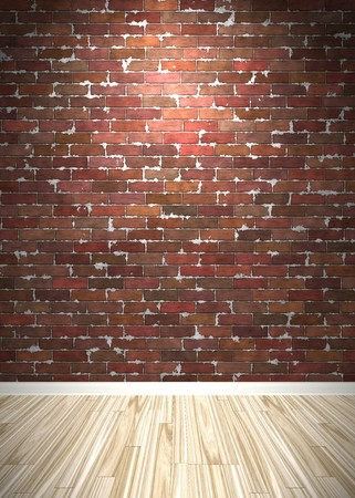 Brick wall interior background with wood parquet flooring. photo