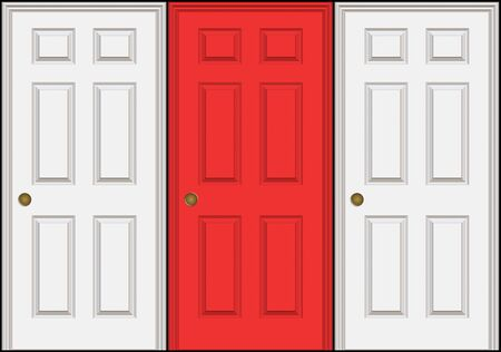 Three doors or doorways with the middle one a different color than the other two.  A great concept for decision making. Isolated over black.