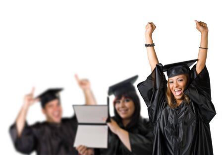 graduating: A group of high school or college graduates cheering happily on graduation day.