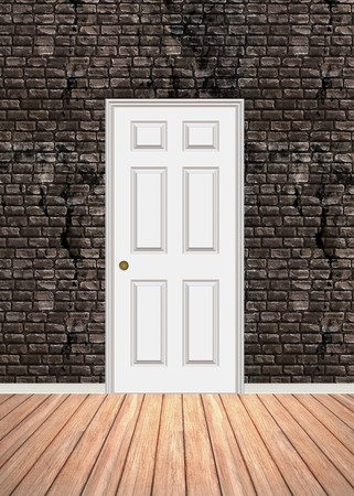 Brick wall interior background with wood parquet flooring and a white door that is closed. Stock Photo - 7135131