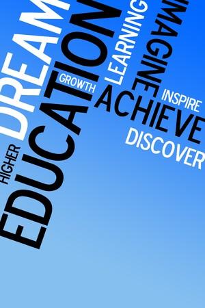 onderwijs: Een educatieve montage met tekst op een blauwe achtergrond. Veel kopieer ruimte voor tekst of afbeeldingen.