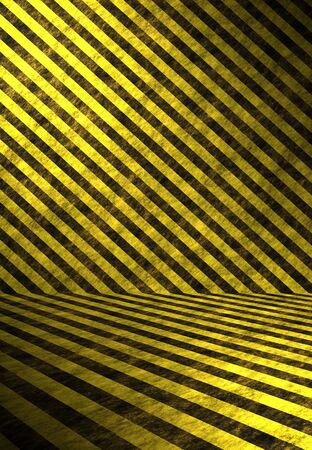 dangerous construction: A 3D interior space lines with hazard stripes in yellow and black.