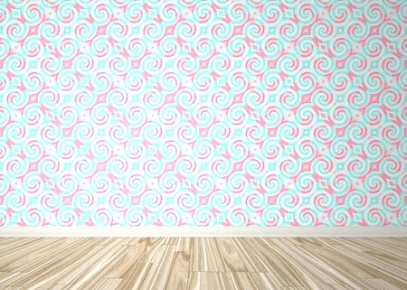 An empty room interior backdrop with wood parquet flooring and a baroque styled wallpaper pattern.