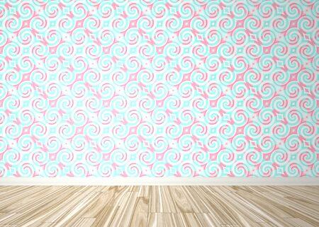 Telón interior de una habitación vacía con pisos de parquet de madera y un patrón de papel tapiz con estilo barroco.  Foto de archivo - 7135129
