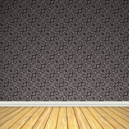 white wood floor: An empty room interior backdrop with hard wood flooring and a vintage styled wallpaper pattern.