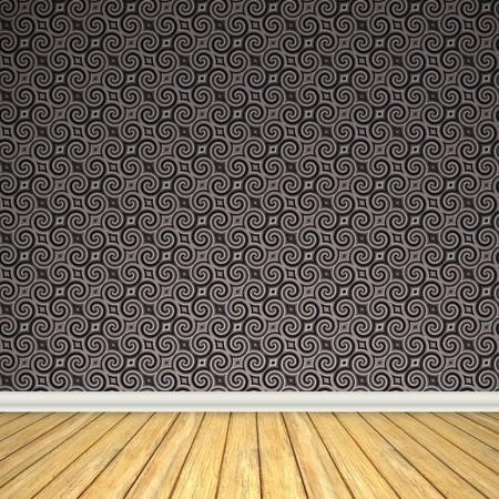 Een lege kamer interieur decor met harde houten vloeren en een vintage, vormgegeven behang patroon.