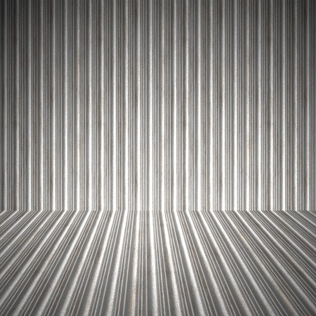 grooved: A 3D interior space with corrugated metal on the walls and floor. Stock Photo