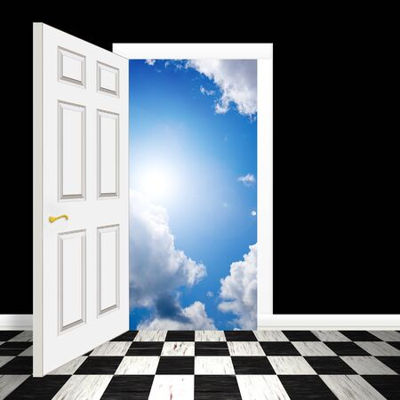 An opened door or entrance leading to a blue sky with fluffy clouds. Stock Photo - 7210581