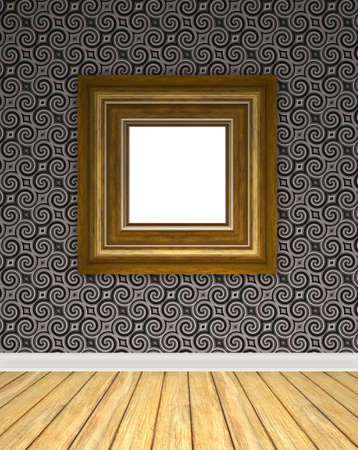 backdrop: An empty art gallery interior backdrop with hard wood flooring and a vintage styled wallpaper pattern.