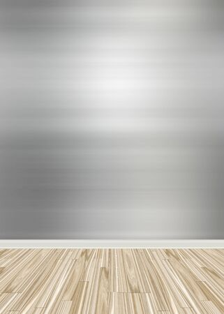 flooring: An empty room interior backdrop with hard wood flooring and a brushed aluminum or stainless steel wall treatment.