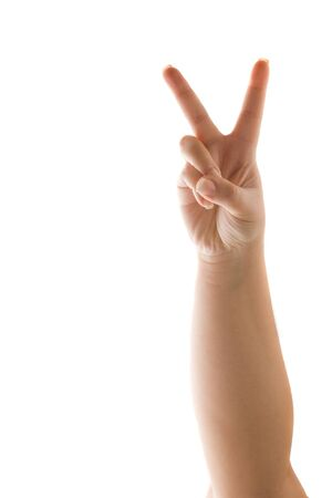 A hand holding up the peace sign or number two with two fingers isolated over white. Stock Photo - 7338924