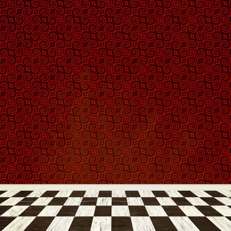 A fantasy room interior backdrop with checkered flooring and a vintage styled wallpaper pattern. photo
