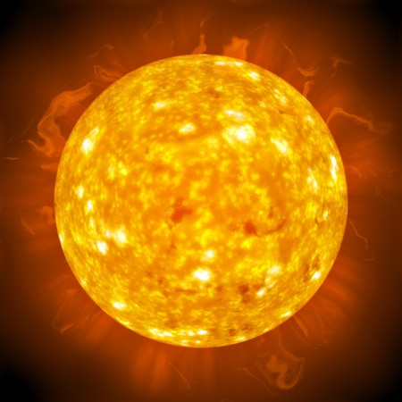 flaming: Burning ball of fire.  A great 3D illustration of the sun. Stock Photo