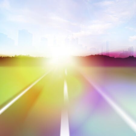 Colorful abstract illustration of a highway at high speeds traveling towards a city horizon around sunset. illustration