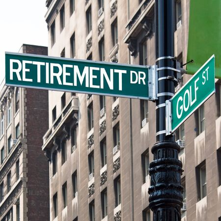 dr: A sign post at the intersection of two streets reading RETIREMENT DR and GOLF ST.  Remove the words and insert your own to easily customize the message. Stock Photo