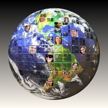 courtesy: Montage of the earth with a global network of people from all walks of life on different continents isolated over white.  Clipping path included. Earth photo courtesy of NASA. Stock Photo