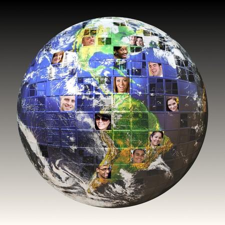 Montage van de aarde met een wereldwijd net werk van mensen uit alle lagen van het leven op verschillende continenten geïsoleerd over white.  Uitknippad opgenomen. De foto van de aarde hoffelijkheid van de NASA.