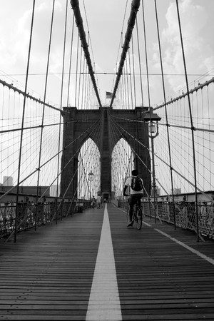 old new york: The famous and historic Brooklyn Bridge located in New York City.