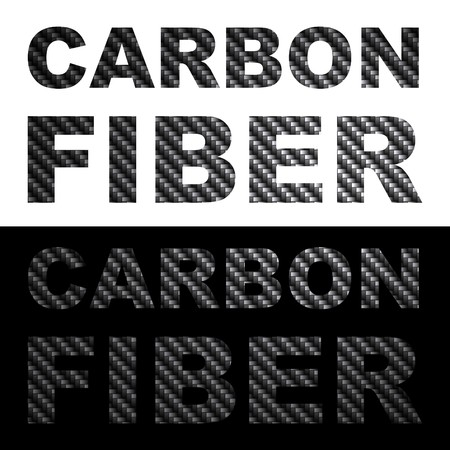 objects: Carbon fiber clip art words with texture isolated over black and white.