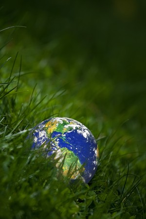 Conceptual image of the earth laying in the tall green grass.  Shallow depth of field.   photo