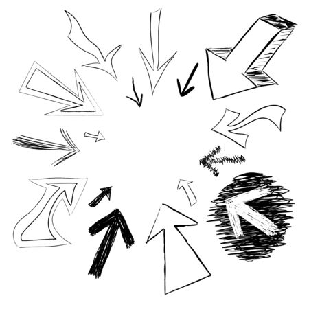 scribble: Arrow doodles pointing in a circular frame shape.