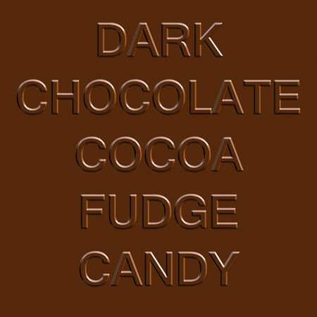 fudge: Chocolate related word elements isolated over a dark brown fudge bar background.