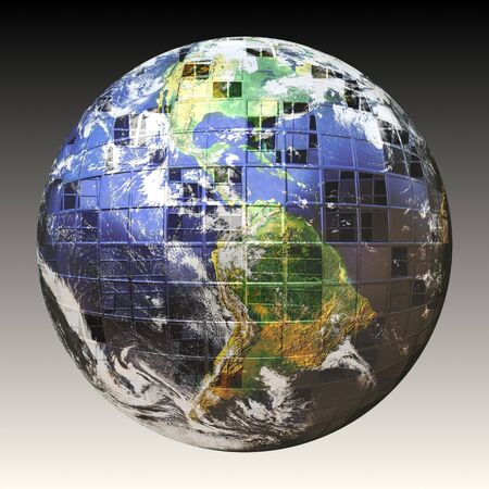 courtesy: A wire frame sphere of the earth split up in square sections. Earth image courtesy of NASA. Stock Photo