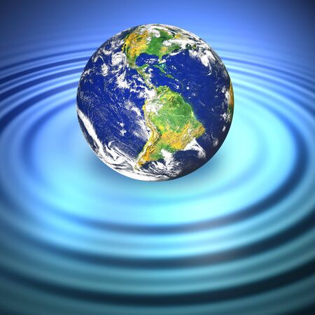 pollution water: Our planet Earth floating in blue water with ripples.
