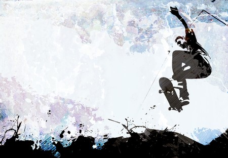 A grungy skateboarding layout with plenty of negative space for your text.