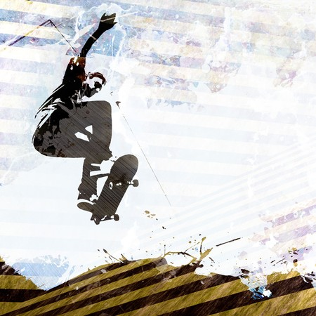 A grungy skateboarding layout with plenty of negative space for your text. Stok Fotoğraf - 7795042