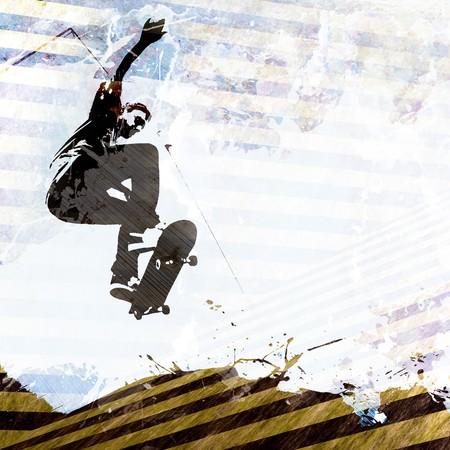 spattered: Un dise�o de skateboarding grungy con mucho espacio negativo para el texto.  Foto de archivo