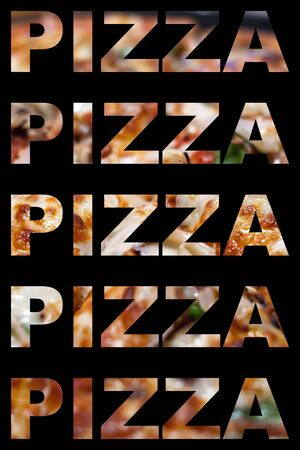 The word pizza with actual pizza textures isolated over black. photo