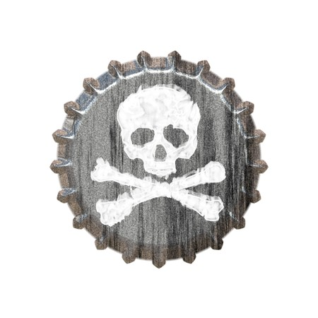 booze: A bottle cap with a skull and crossbones great for concepts of alcohol abuse or addiction. Stock Photo