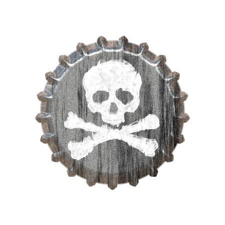 alcoholismo: Un tap�n de botella con un cr�neo tibias y cruzadas gran a los conceptos de abuso de alcohol o la adicci�n.  Foto de archivo