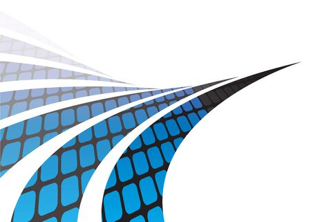 swoosh: Abstract swoosh lines illustration with a grid of rounded squares isolated over white. Stock Photo