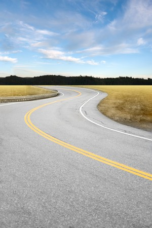 curve road: An empty curved road leading off into the horizon of trees and countryside. Stock Photo