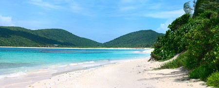 puerto rico: The gorgeous white sand filled Flamenco beach on the Puerto Rican island of Culebra.