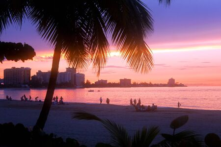 juan: A beautiful sunset in the Isla Verde section of San Juan Puerto Rico.