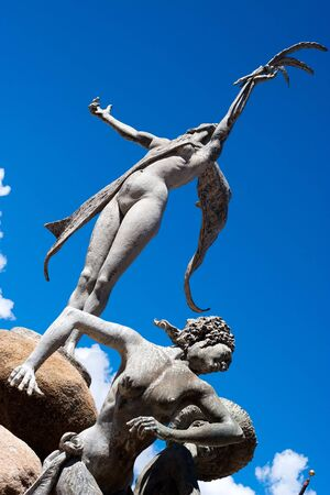la: Historische Paseo De La Princesa Brunnen Statue befindet sich in Old San Juan Puerto Rico. Lizenzfreie Bilder