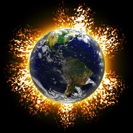 courtoisie: Illustration d'une plan�te terre explose ou une collision d'ast�ro�de contre le globe. Image courtoisie de la Terre de la NASA. Banque d'images
